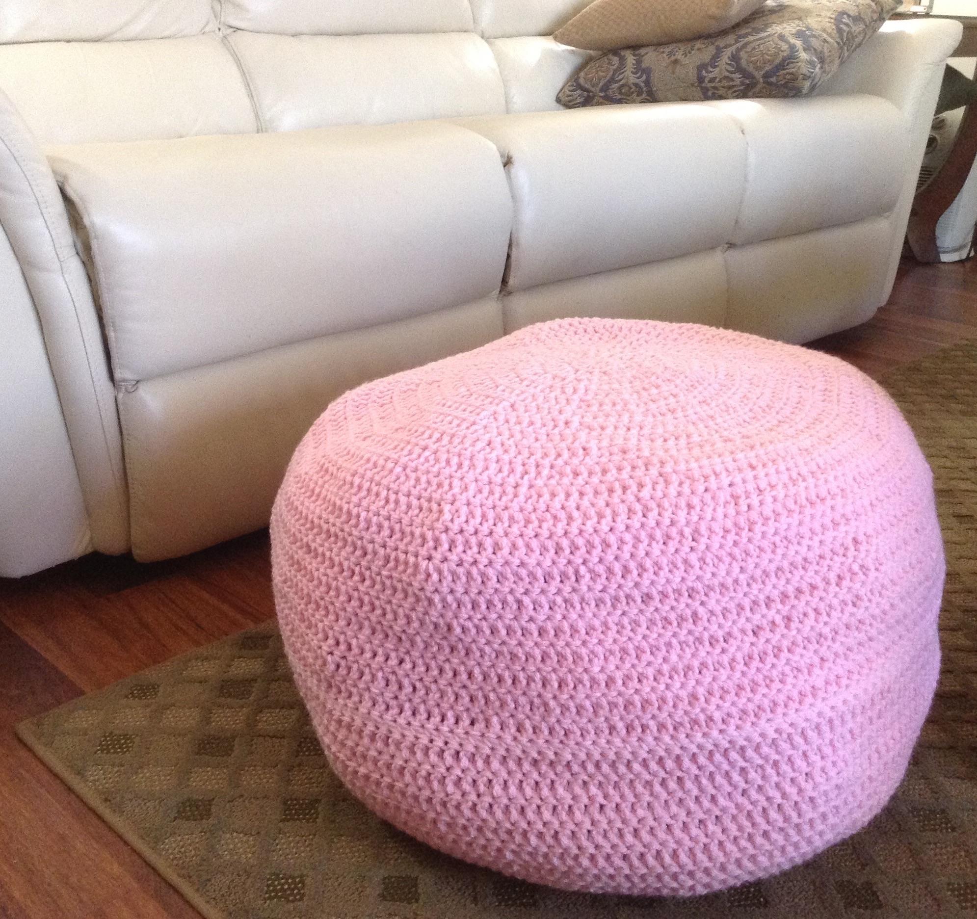 Pleasant Hand Crocheted Pouf Ottoman Shell Short Links Chair Design For Home Short Linksinfo
