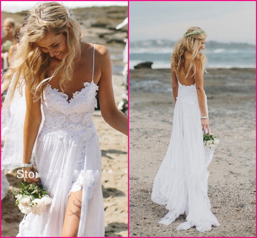 b4bbc461871 Stunning vintage boho white beach low back wedding dresses gowns chiffon  dreamy spaghtti straps slit short