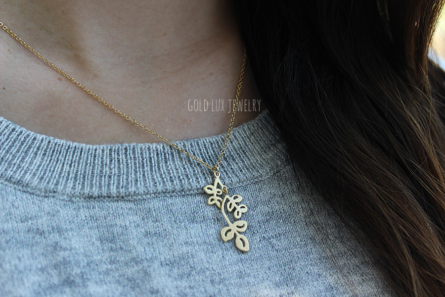b54968020 Premium Matte Gold Leaf Necklace, Laurel Leaf Necklace, Olive Branch ...