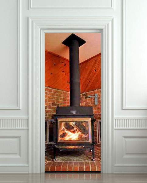 Wall Door Sticker Sortie Entrance Fireplace Stove Log