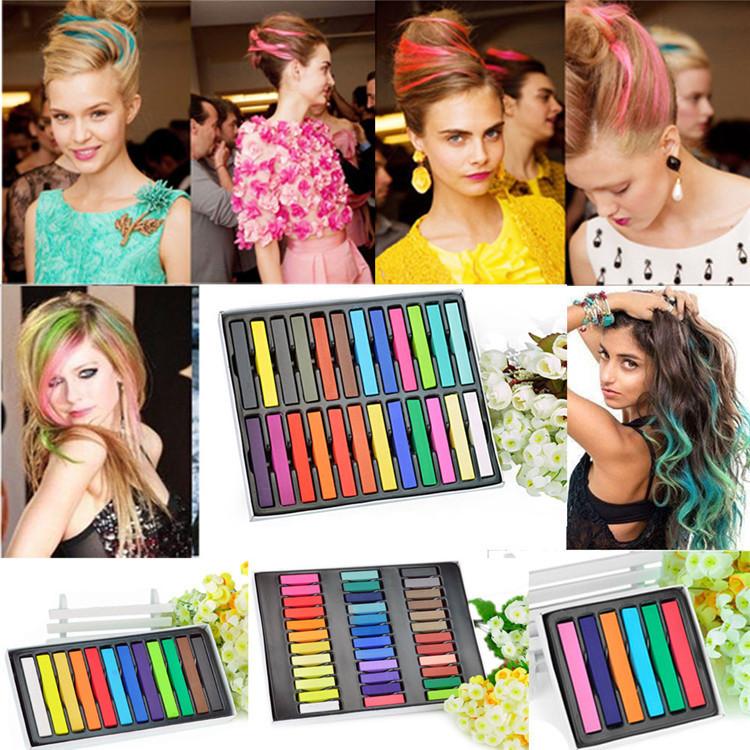 12 Colors Non Toxic Temporary Salon Kit Pastel Square Hair Chalk