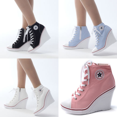 94f6804057ada0 Wedges Trainers Heels Sneakers Platform High Top Ankles Boots Shoes DS  Motive