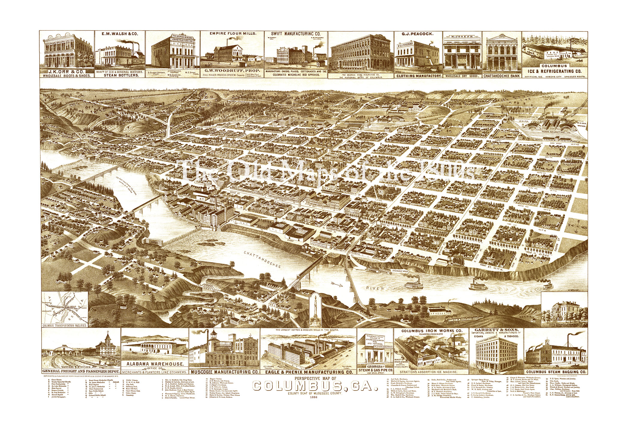 Map Of Columbus Georgia.Columbus Georgia In 1886 Bird S Eye View Aerial Map Panorama Vintage Antique Map Reproduction Giclee Fine Art Wall Art History