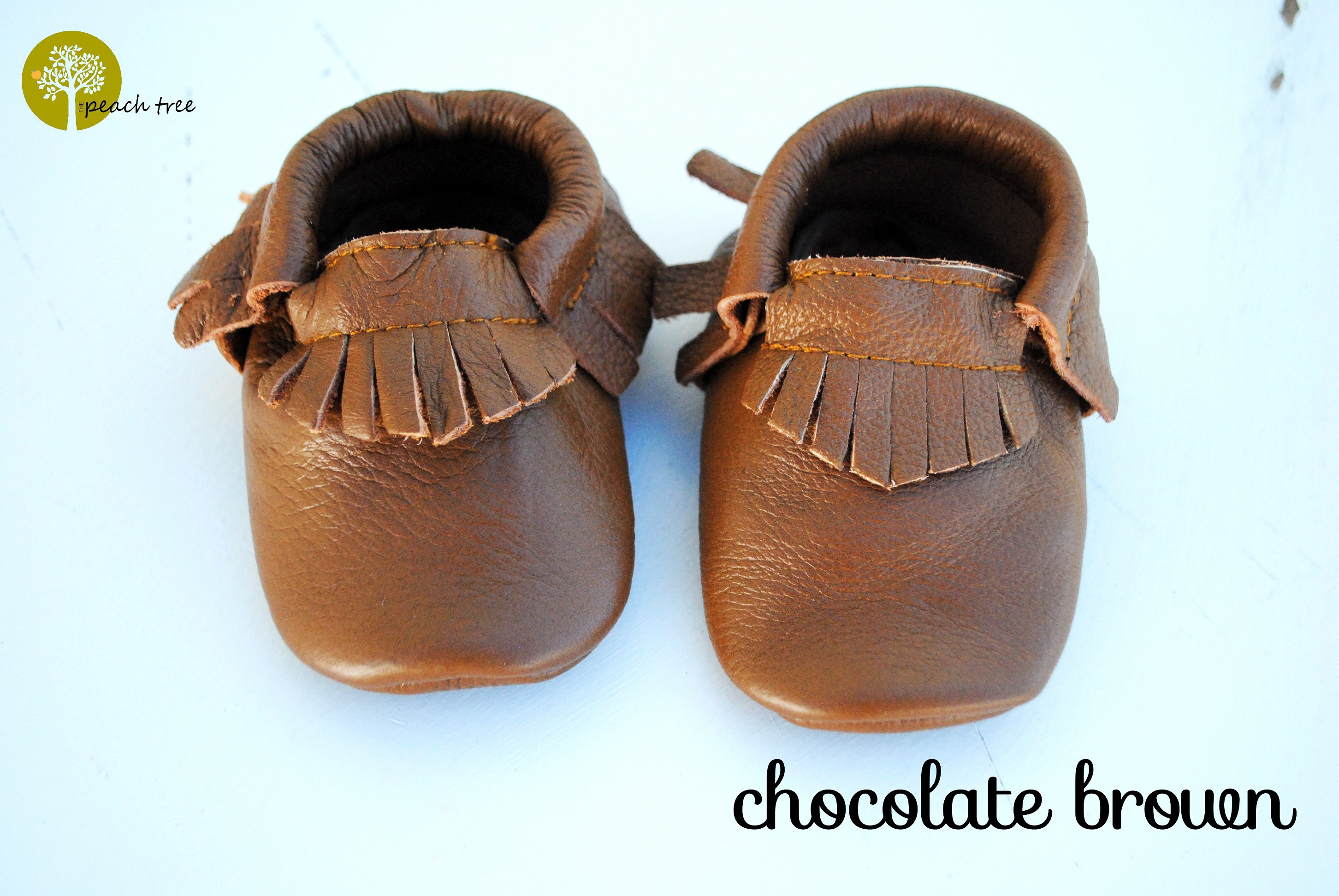 ef3d85f9a30d5 Leather Baby Moccasins Chocolate Brown from The Peach Tree BC
