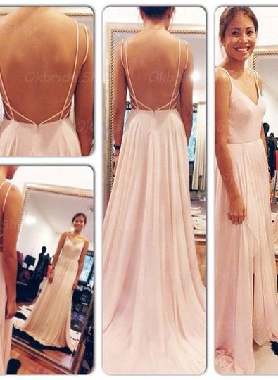 b3b6d28beec6 blush pink prom dresses, backless prom dress, sexy prom dress, chiffon prom  dress