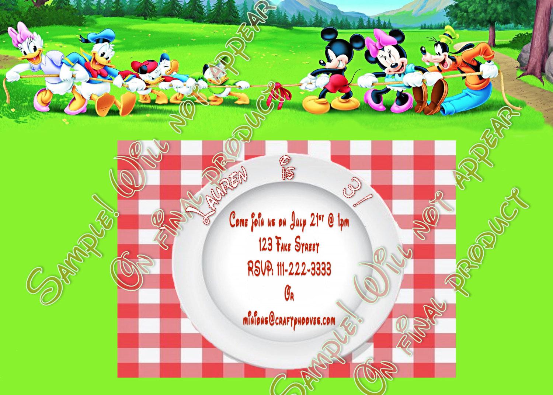 Mickey Mouse Disney Summer Picnic Birthday Party Invitations U-Print ...