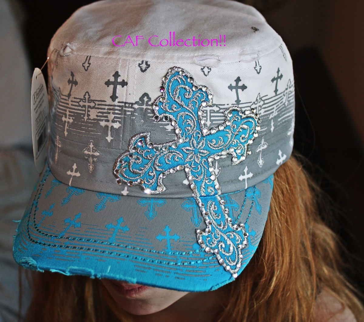 f579051d5ea ... Turquoise and white cross cadet hat with rhinestone inlay - Thumbnail  ...