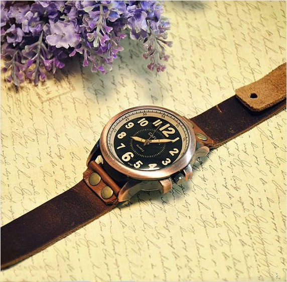 handmade antique style watch wrist watch leather band watch w4 small