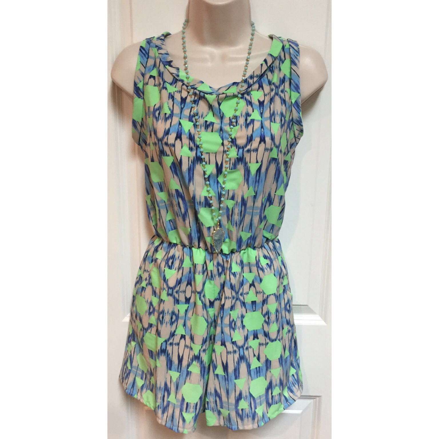 0bad9420d92 Neon Green and Blue Geometric Romper · Jaded Bliss Boutique · Online ...