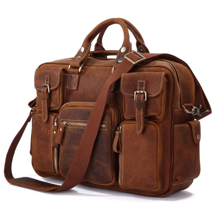 Large Handmade Vintage Leather Travel Bag / Leather Messenger Bag ...