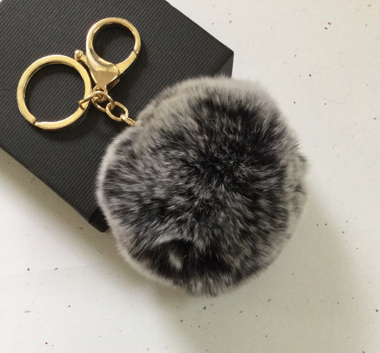 New! Frosted black Fur pom pom keychain fur ball bag pendant charm ... 61a85151f835