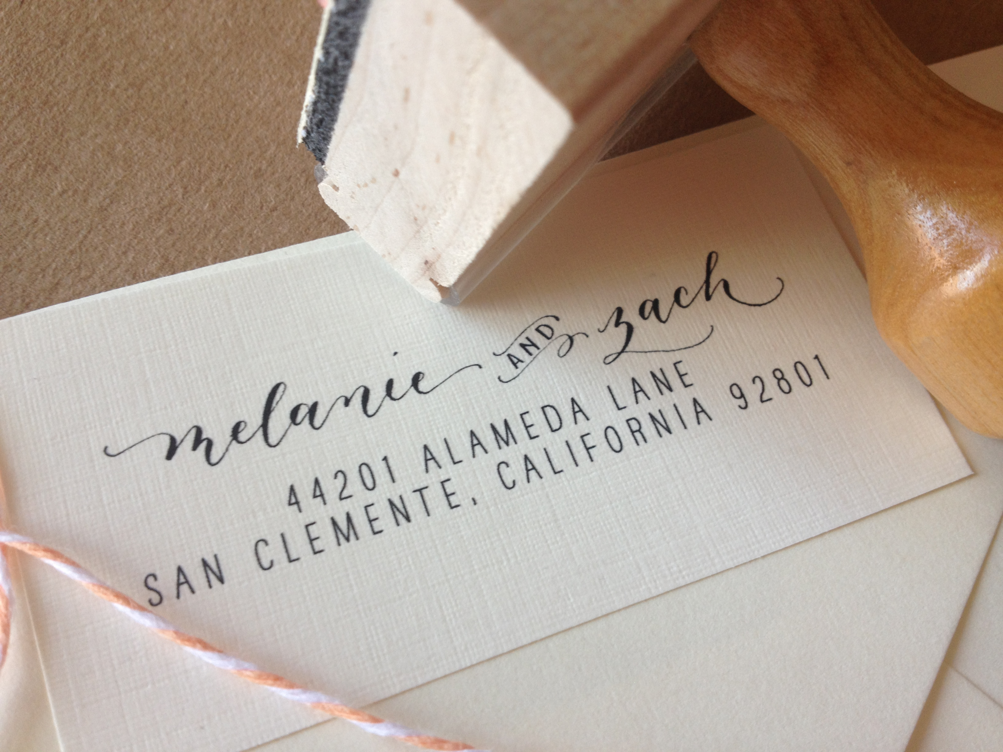 calligraphy address stamp custom mixed calligraphy and type