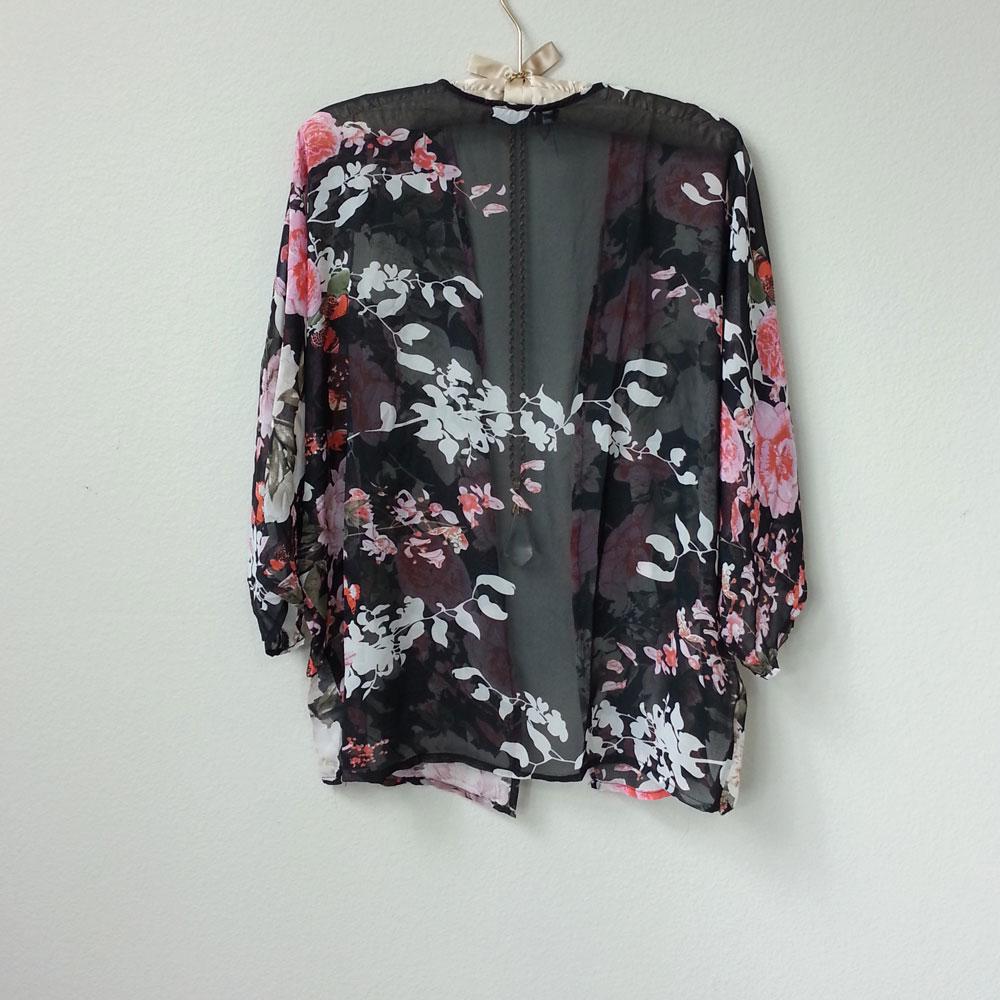 94c263b933 Romantic Boho Sheer Black Floral Pink and White Roses Kimono