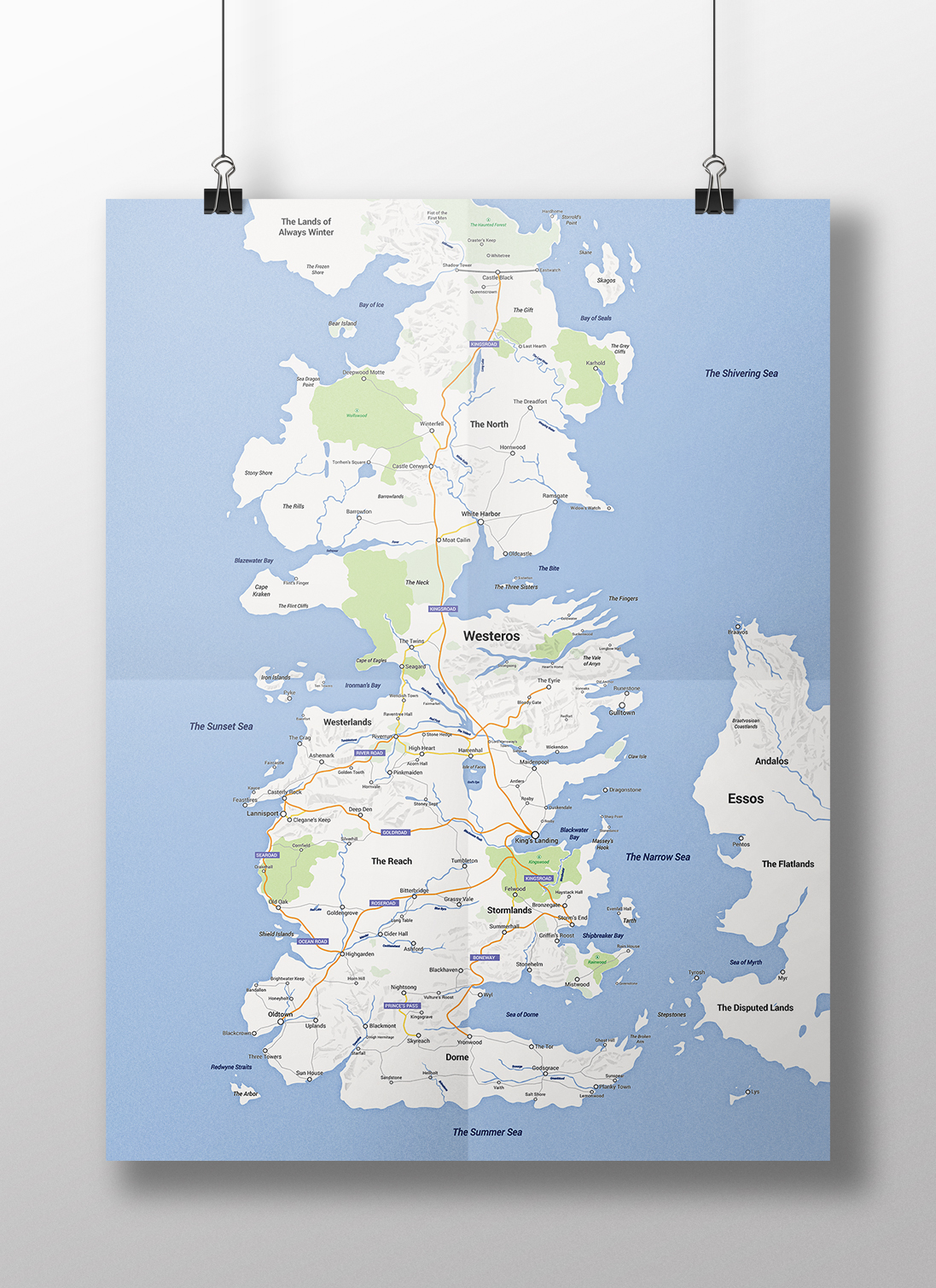Game of thrones map westeros google maps style digital map modern apple maps on storenvy - Westeros map high resolution ...