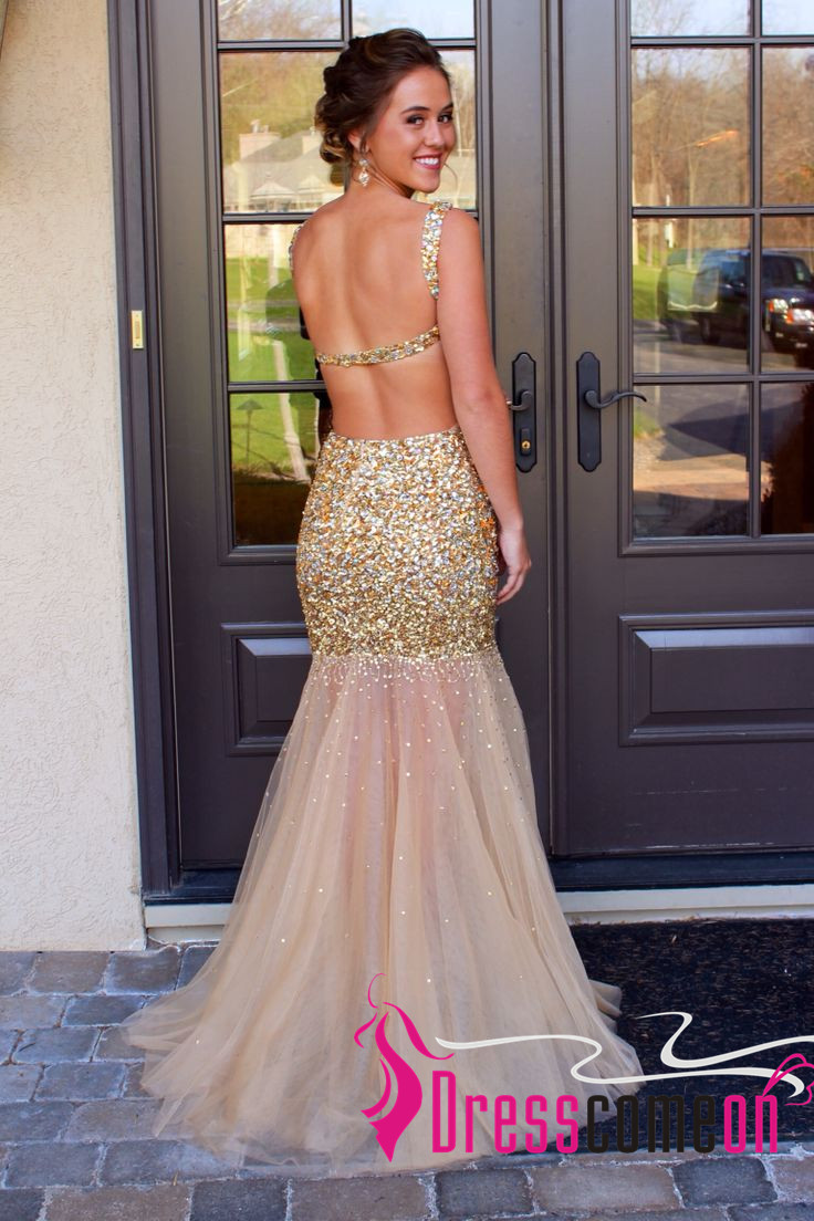 aabbd01394e Pink And Gold Sequin Prom Dress