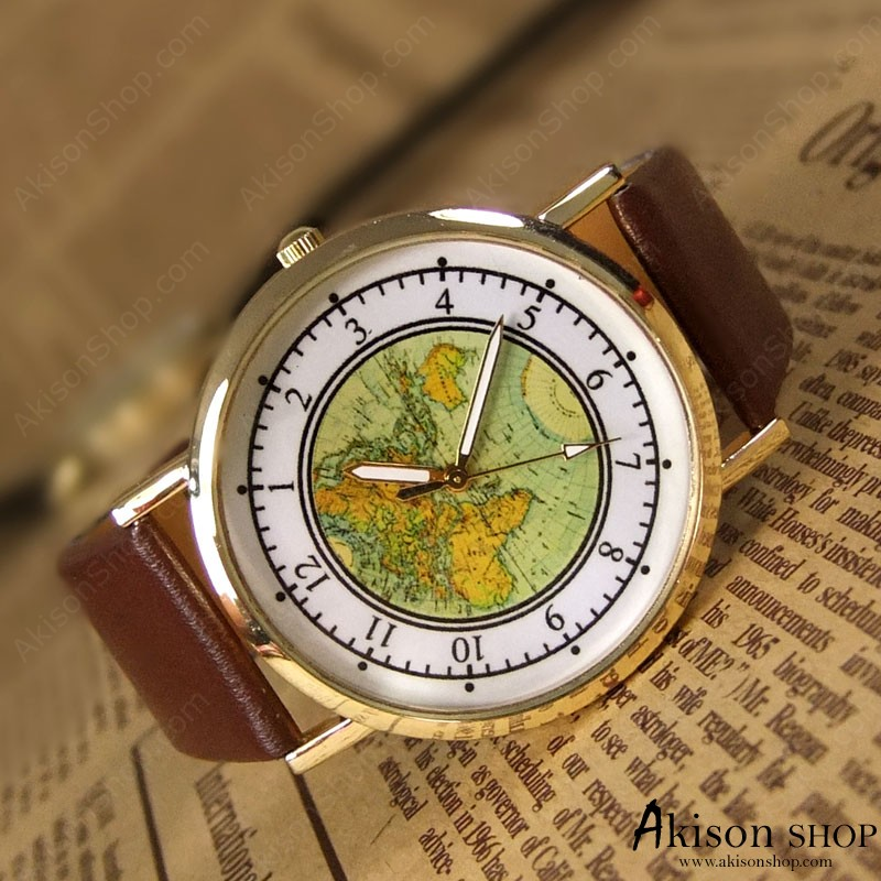 World Map Leather watches fashion watches neutral watch fashion watch map  watch SD002