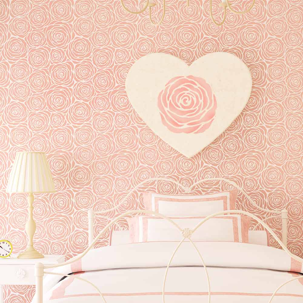Roses Pattern Wall Stencil Girls Room Original