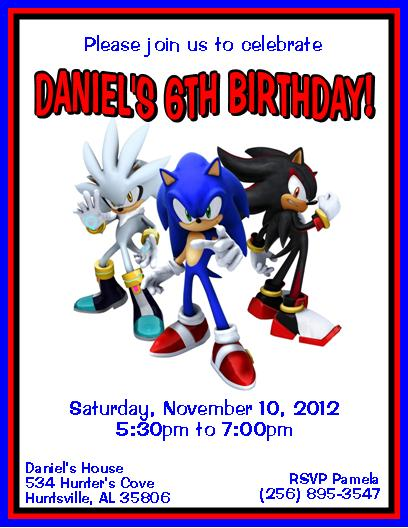 Sonic The Hedgehog Digital Invitation File 5 Styles Sold By The Notecard Lady On Storenvy