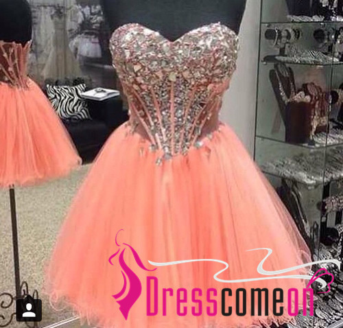 New Arrival Orange Homecoming Dresses Ball Gowns Tulle Short Prom