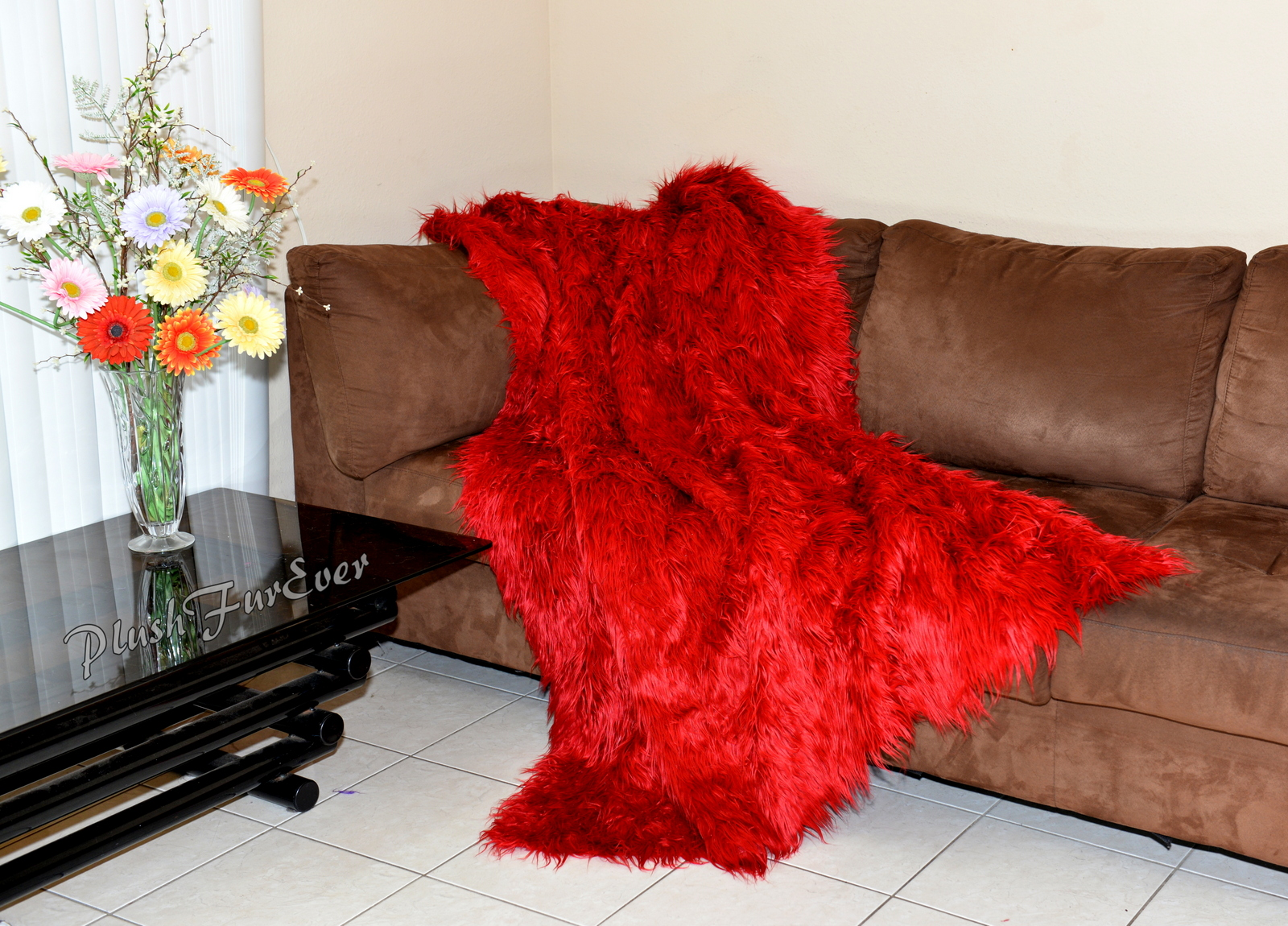 Red Mongolian Faux Fur Throws Comforters Blankets Couch Sofa Bedroom  Nursery Accent Luxurious Decor Mink Back Fake Acrylics Furs