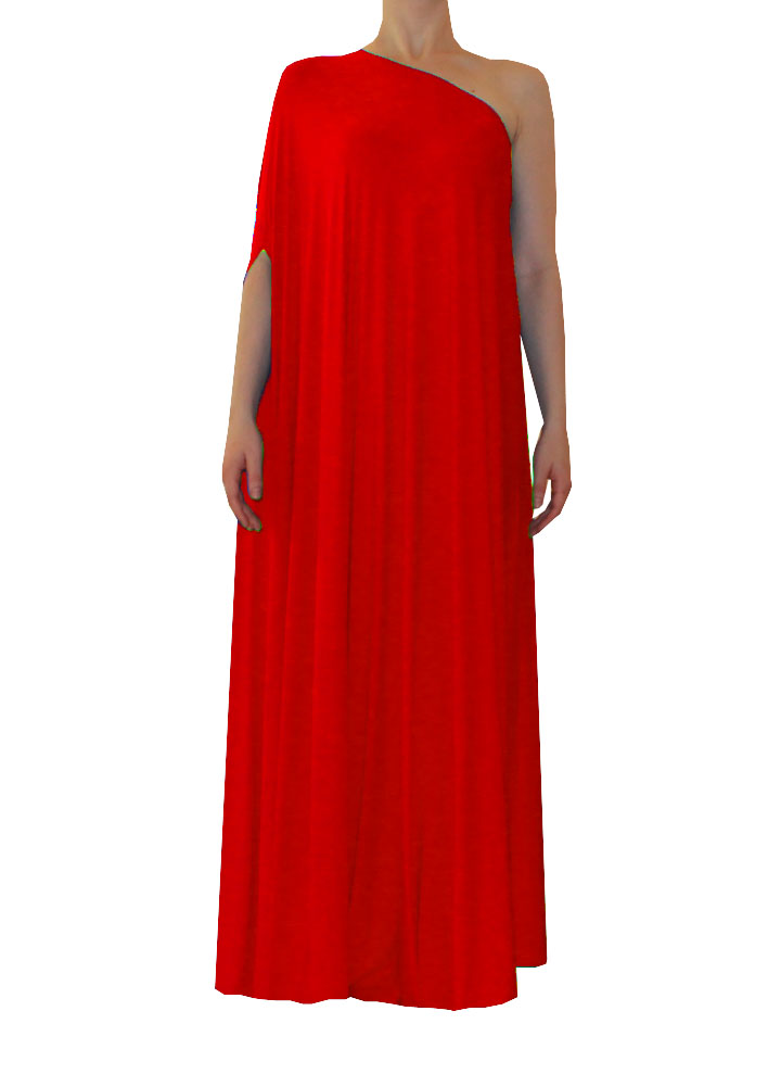 Plus Size Evening Dress Red One Shoulder Full Length Formal Gown