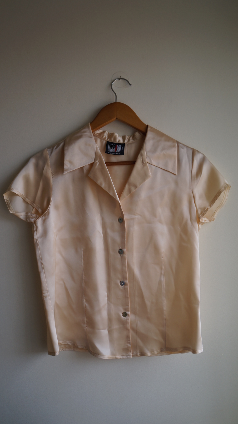 84e577d01 Miss Shop Silk Peach Cream Ivory Short Sleeve Collared Button ...