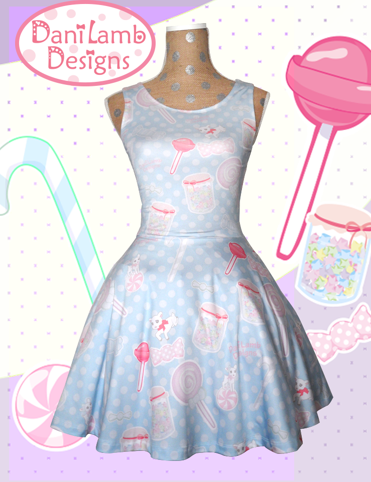 13cd192522b Candy Sweets Fairy Kei Dress Printed Skater Dress Pastel Konpeito Kawaii  Pastel Goth XS-3XL on Storenvy