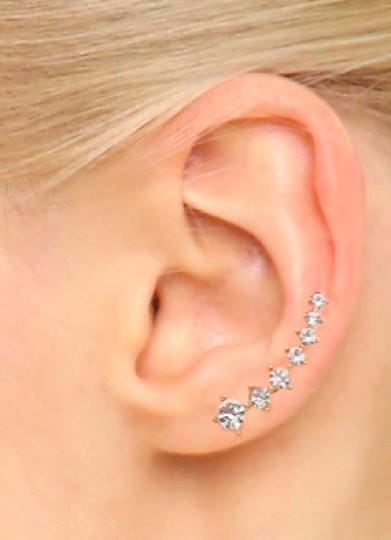 6d2aa3030596c Crystal Ear Crawler Earrings - Delicate Earrings, Wedding Earrings ...