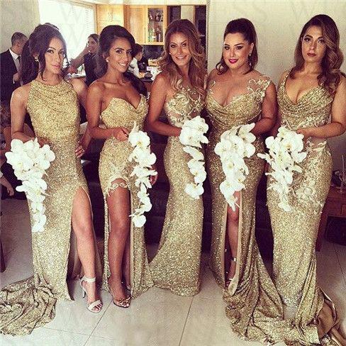 gold shimmer bridesmaid dresses