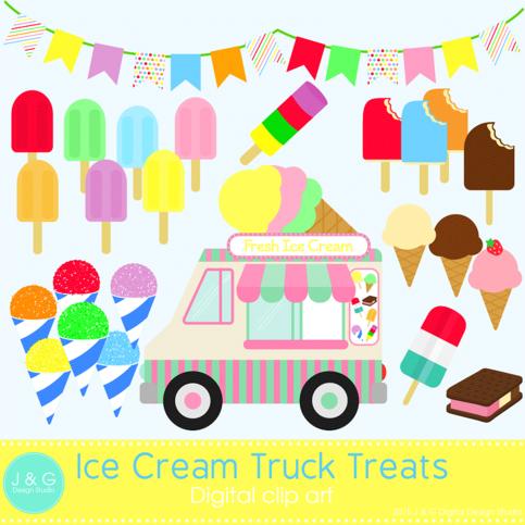 Ice Cream Truck Treats Digital Clipart, clip art ...  Ice Cream Truck...