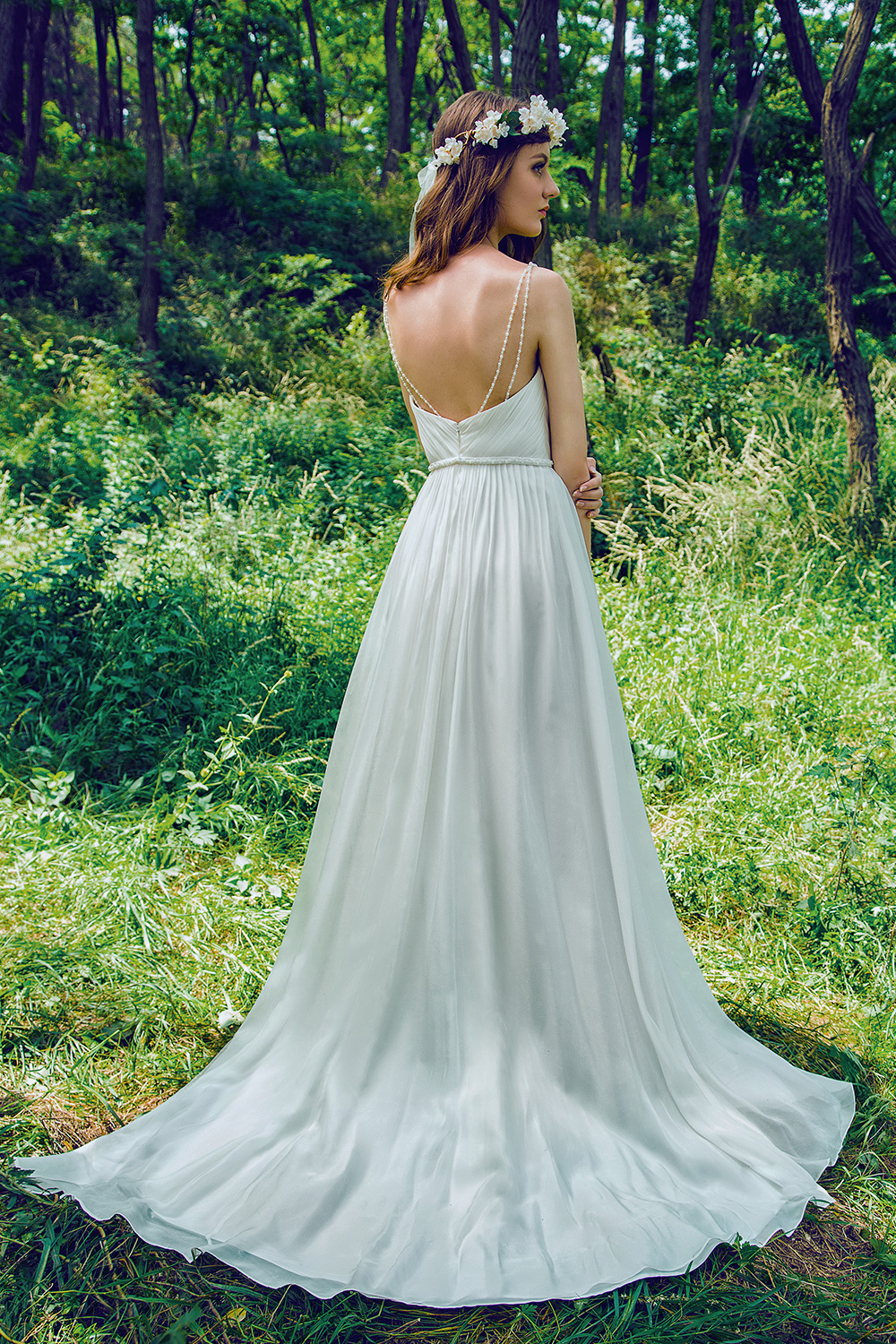 Silk Chiffon Gown With Detachable Faux Pearl Shoulder