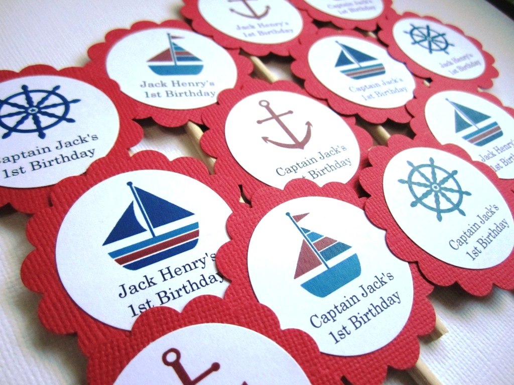 Personalized Nautical Cupcake Toppers in Red for Birthday Wedding ...