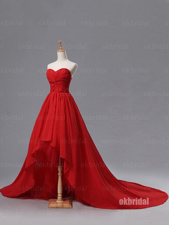 high low prom dress, red prom dress, chiffon prom dress, 2015 prom ...