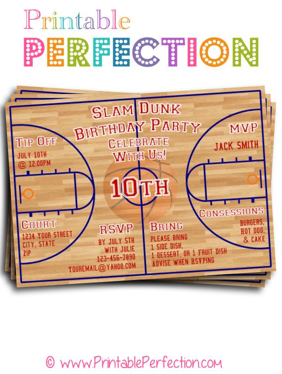 birthday party invitation slam dunk basketball court birthday