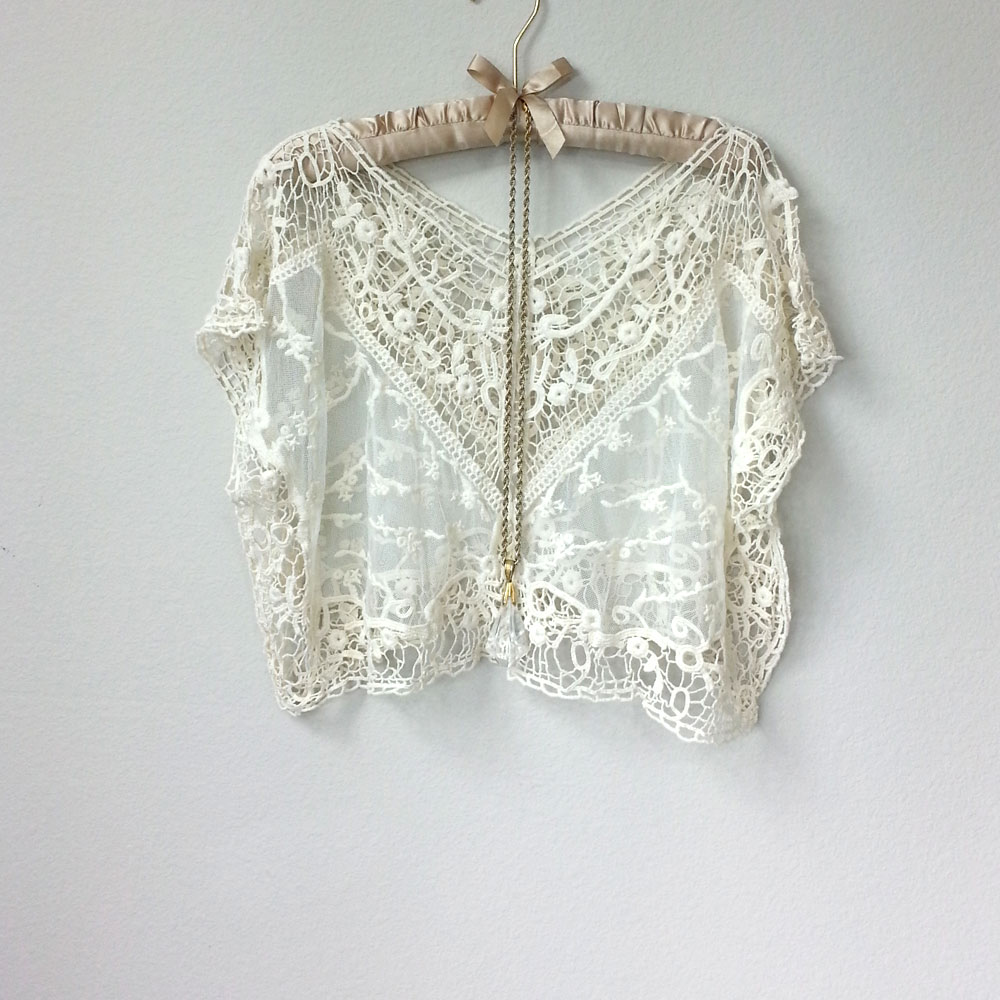 a56fad40f1 Great Gatsby Sheer Cream Off White Lace Crochet V Neck Blouse