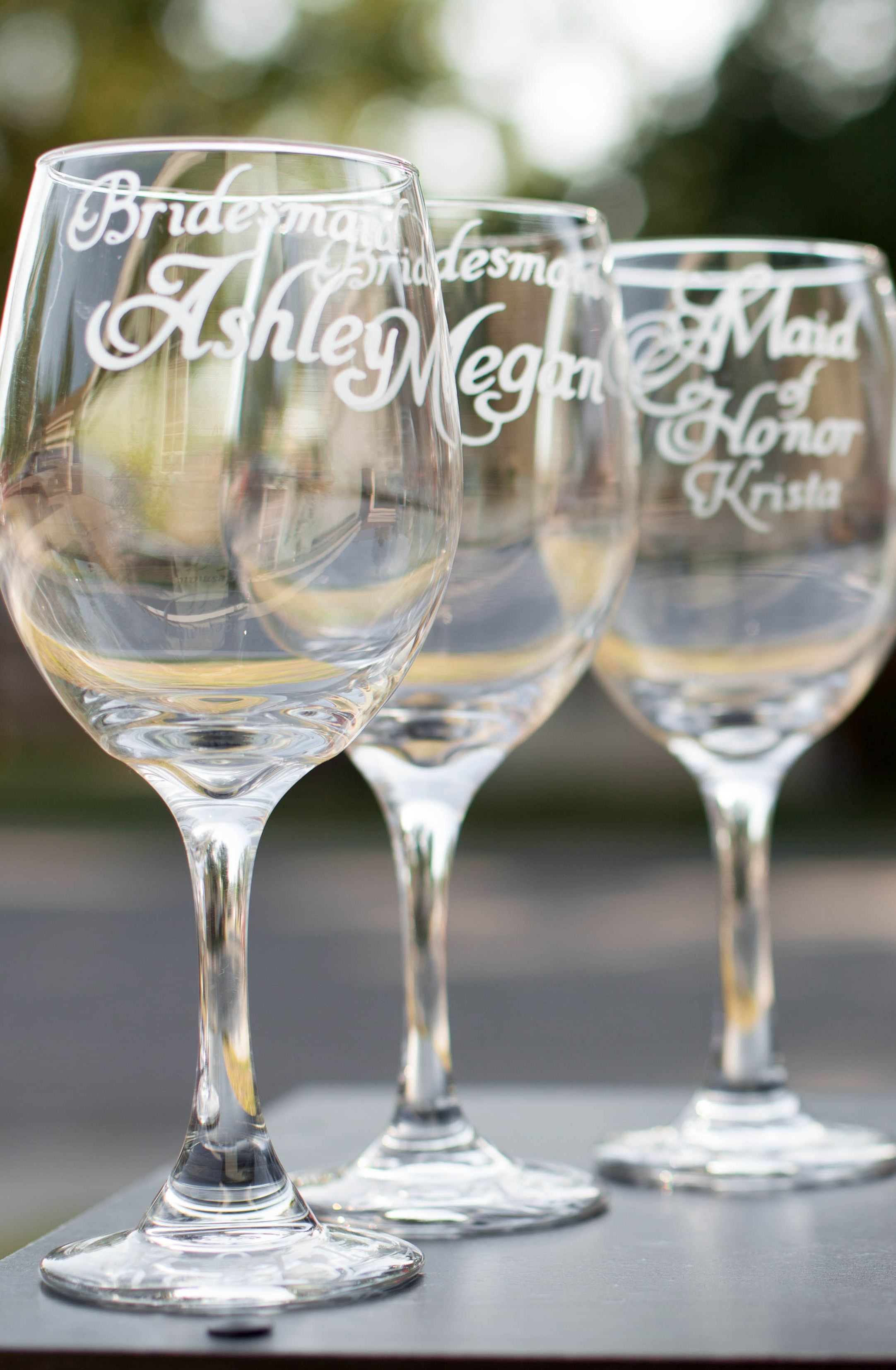 Set Of 3 Bridesmaid Wine Glasses Style With Wedding Date On Foot Of Glass Hand Etched Personalized Everre Online Store Powered By Storenvy