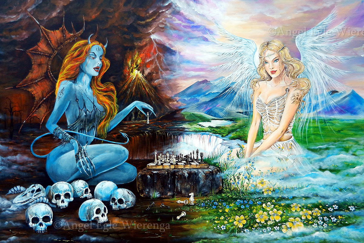 Devil and Angel Playing Chess · AngelSVisionS - KittyWorks ...