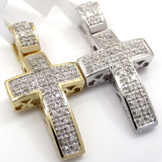 Luxury mens 10k gold cross necklace best jewelry 0 16ct mens la s 10k white yellow gold round diamond mini pave aloadofball Gallery