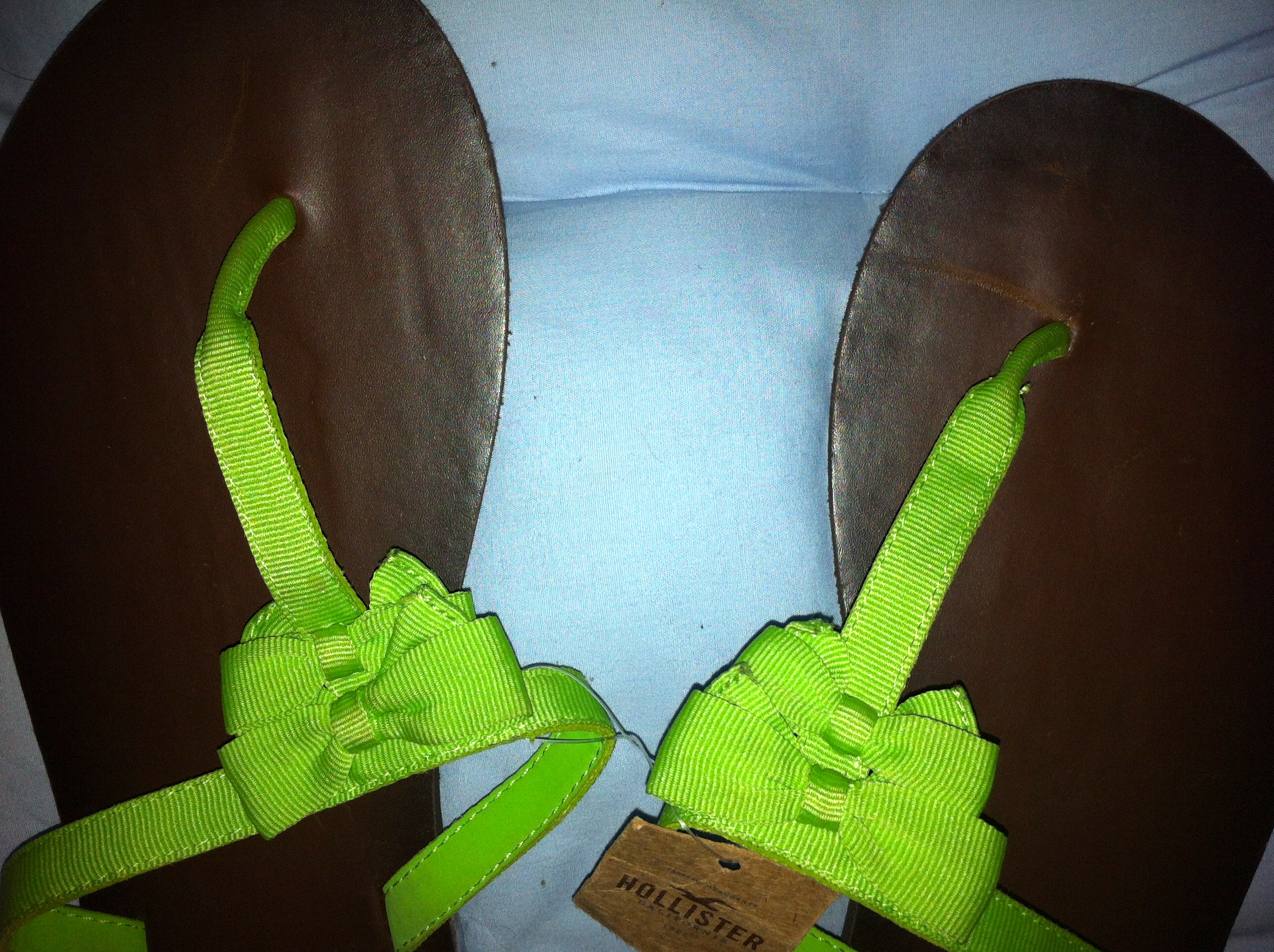 e22b3a863 ... Hollister by Abercrombie Fitch Women Leather Flip Flop Green M 8 9 -  Thumbnail ...