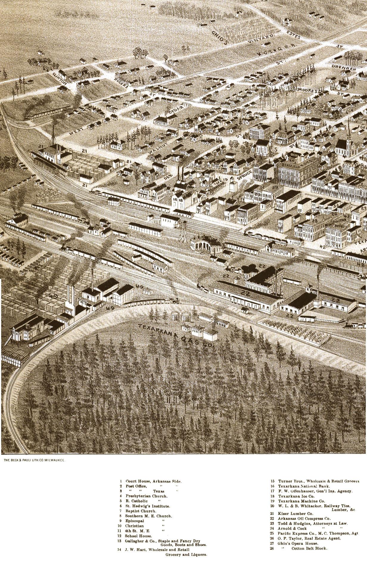 Texarkana, Arkansas and Texas in 1888 - Bird\'s Eye View, Aerial ...