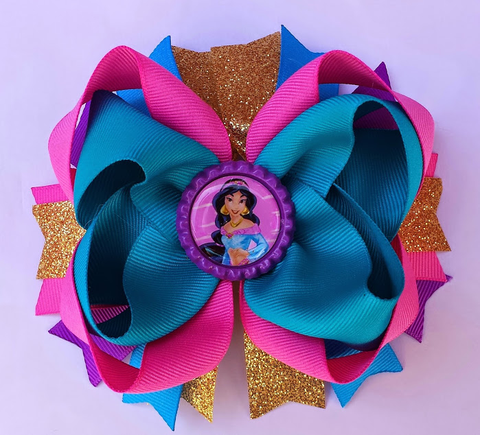 Princess Belle //Beauty and The Beast Stacked Boutique Hair Bow Pink Yellow Gold