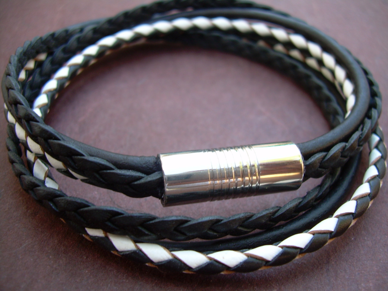 05d235974e7 Mens Black and White Triple Strand Double Wrap Leather Bracelet, Stainless  Steel Magnetic Clasp,