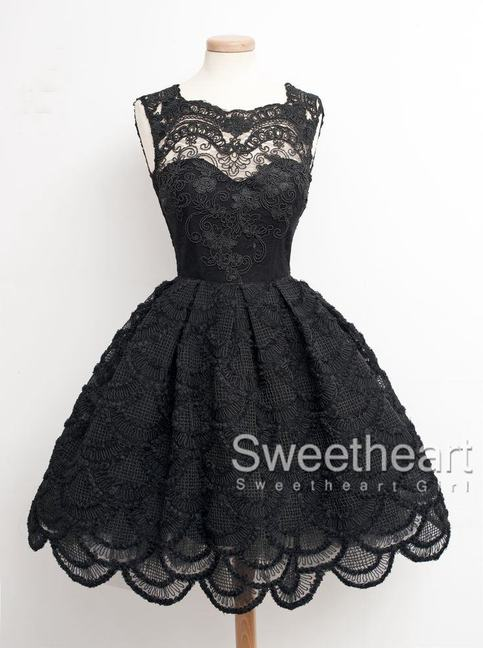 Sweetheart Girl Black Lace Short Prom Dress Homecoming
