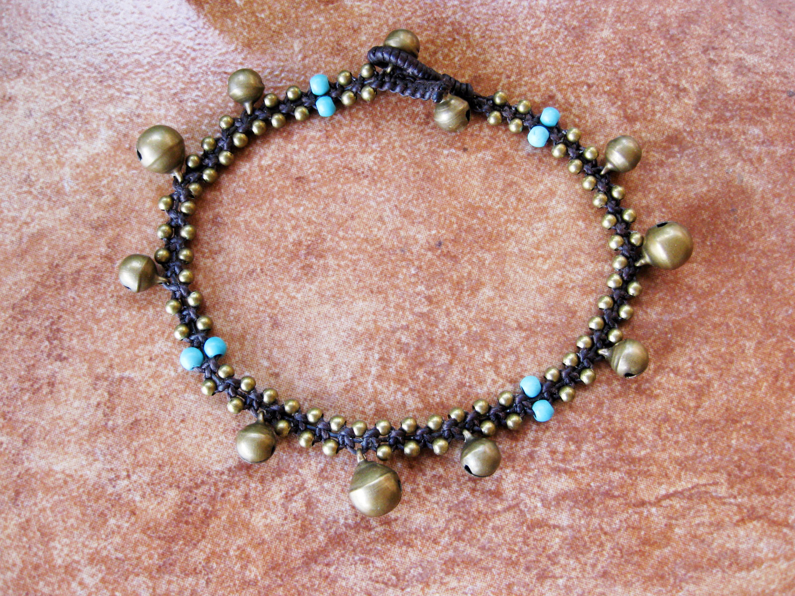 Brass Balls Amp Bells And Turquoise Or Red Beads Anklet