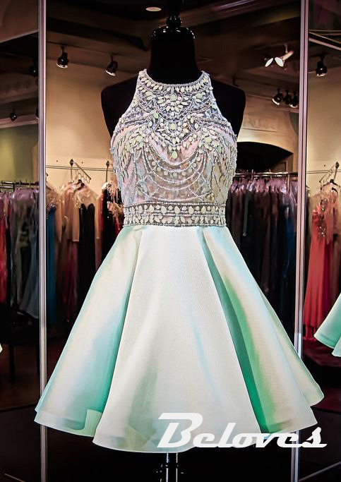 Light Green Halter Cocktail Dress With Beads And Crystals