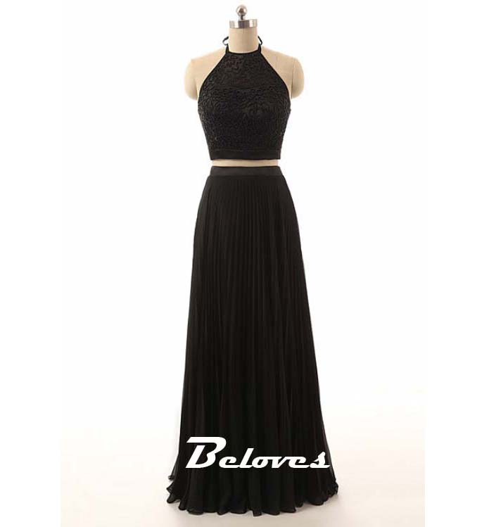 92b41b0a11e 2016 Black Two Piece Beaded Halter Prom Dress · Beloves · Online ...