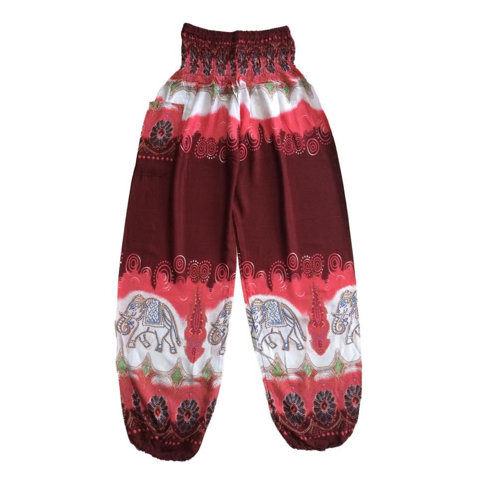 d67c9e54c5803b Red Batik Style Elephants Baggy Harem Hippie Yoga Pants, One Size Harem  Pants/ Boho