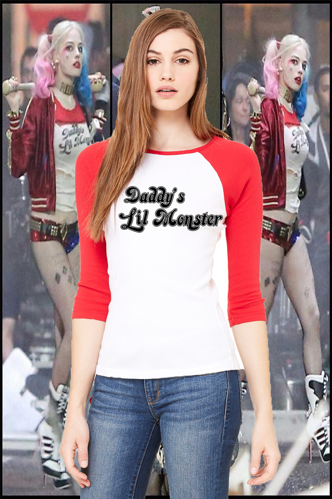 Harley quin daddys lil monster raglan mockup original  sc 1 st  Storenvy & Harley Quinn Suicide Kings Harley Quinn T shirt Halloween Costume ...