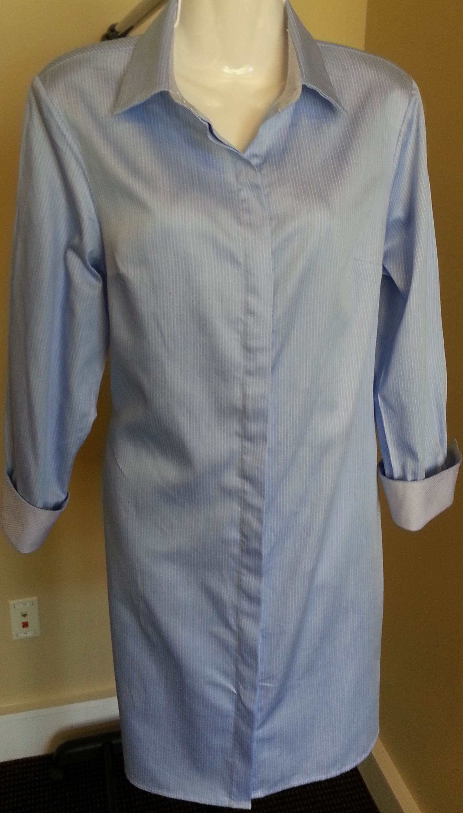 48a8ad0077 3/4 Sleeve Shirtdress in Blue with White Pencil Stripes on Storenvy