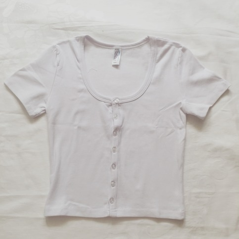 Short Sleeve Button Up Crop Top White 183 Megoosta Fashion